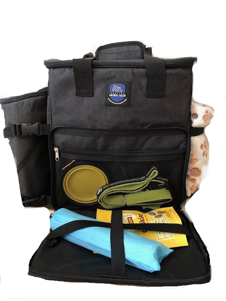the perfect travel kit in a sturdy back pack including; emergency lead, food container,  travel bed and blanket, toys, food bowls and other treats!