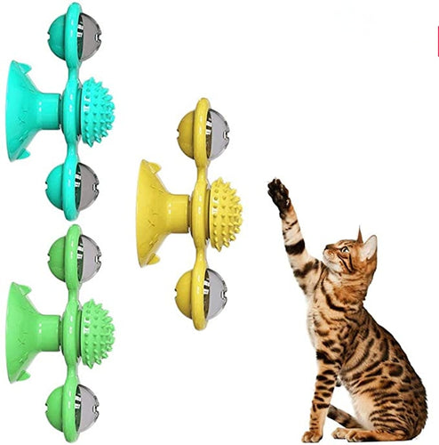 Cat toy. spinning, rotating windmill toy with textured face rub.