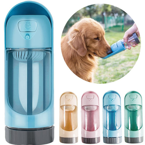 Pet drinking bottle. Water filter for pets. Dog drinking bottle with water filter.