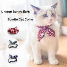 Load image into Gallery viewer, Unique Bunny Ears Bowtie Cat Collar