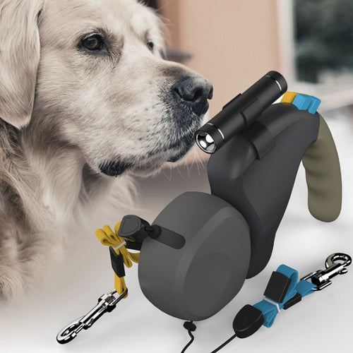 3 meter retractable double leash / lead for dogs.  Fitted with a LED light for extra visibility.