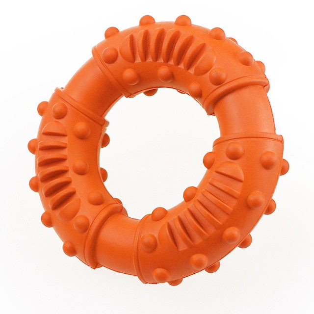 Durable chew ring. Dog dental care. Fetch dog game. Carry dog toy. Large size.