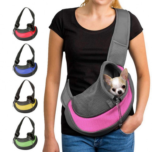 This is a secure cross body puppy carrier that is also sturdy  enough for small adult dogs. In strong mesh and nylon, and various colours.