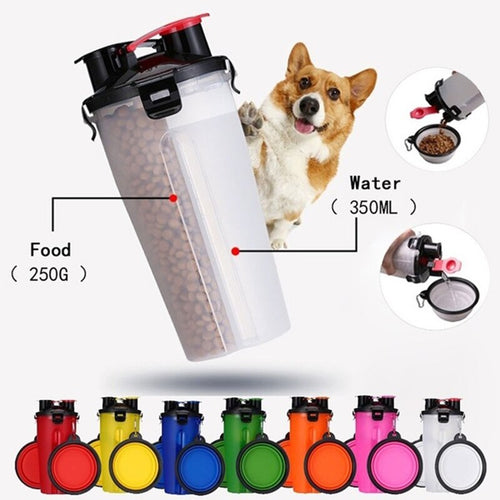 Convenient, safe, plastic water and dry food container. Dog food container. travelling with dogs water bottle.  Silicone bowl for water.