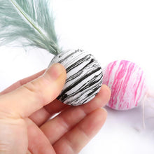 Load image into Gallery viewer, A light 4cm black & white  ball with a 6cm feather, for throwing and chasing games with your furry friend! A great cat toy!