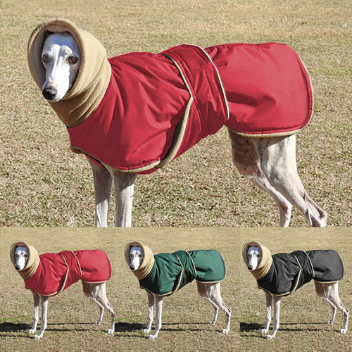 Fleece lined, waterproof coat for larger breeds and greyhounds!