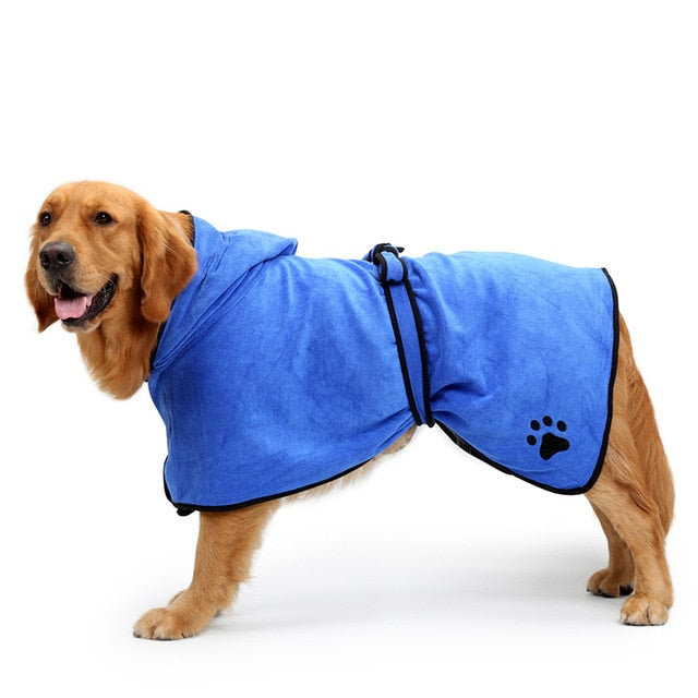 Highly absorbent microfibre bath robe with a hood and belt for your pup.