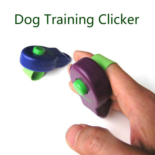 Dog or puppy training clicker with finger band for a secure fit.