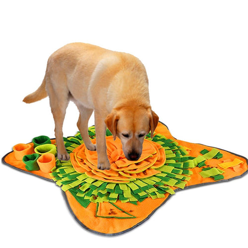 A large snuffle mat with lots of sounds and textures to keep your pup happy as they forage for treats.