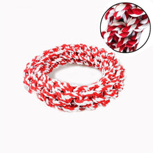 Load image into Gallery viewer, A strong cotton knotted rope circle in cheery red and white  - idea for throwing and tug of war!