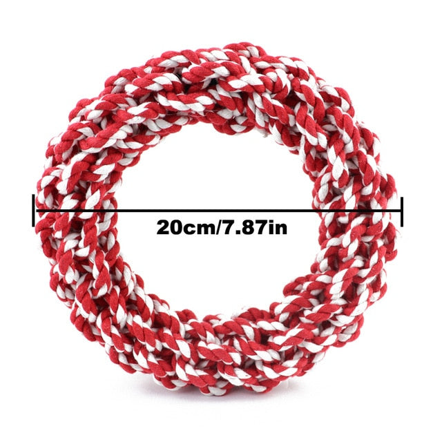 A strong cotton knotted rope circle in cheery red and white  - idea for throwing and tug of war! 20cm diameter.