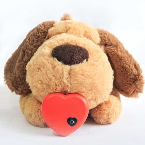 A soft toy with a realistic heartbeat to comfort your new or anxious puppy.