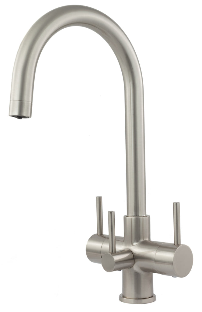 Verona 3 Lever Triflow Filter Tap Brushed Steel - Water Filter Men