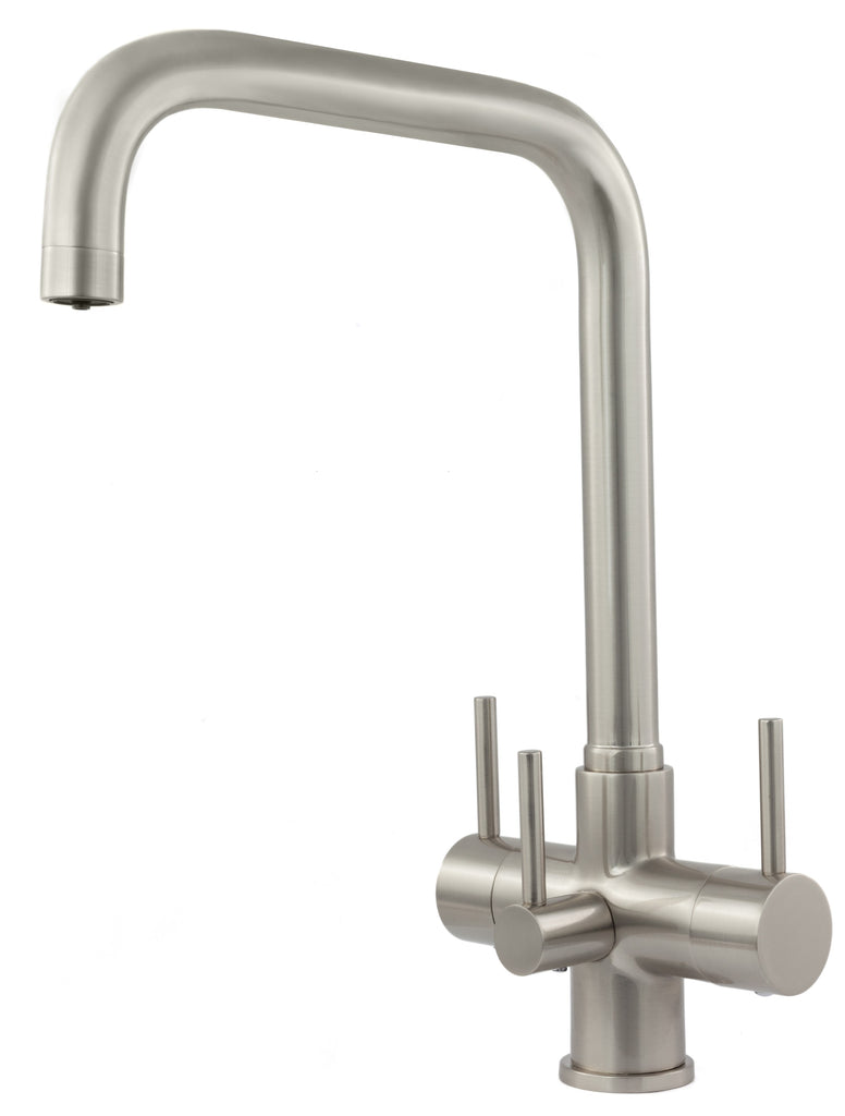 Monza 3 Lever Triflow Filter Tap Brushed Steel - Water Filter Men