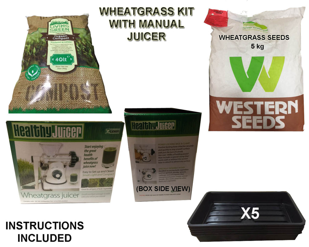 Wheatgrass Juice Kit with Manual Juicer, Seeds, Organic Compost and trays DIY - Water Filter Men