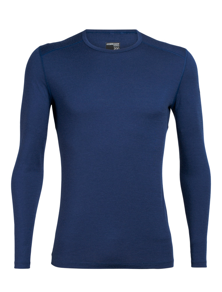 Icebreaker Base Layer Men Merino Wool 200 Oasis  - Long Sleeve Crewe - Winter Outdoor Camping Trekking Hiking