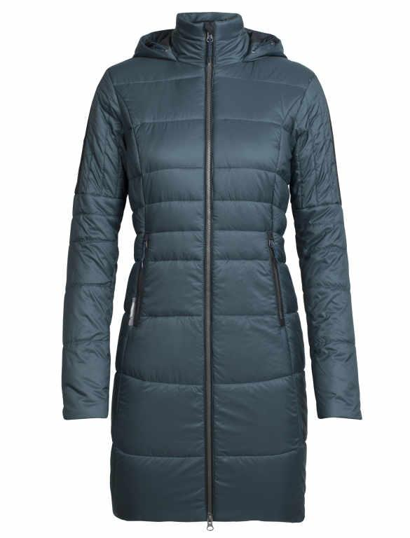 Icebreaker Winter Coat Women Merino Wool - MerinoLOFT StratusX 3-Quarter - Hoodie Jacket Outdoor Water Resistant