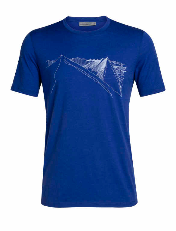Icebreaker T-Shirt Men Merino Wool 150 Tech Lite - Peak In Reach - Outdoor Camping Trekking Hiking Everyday Short Sleeve