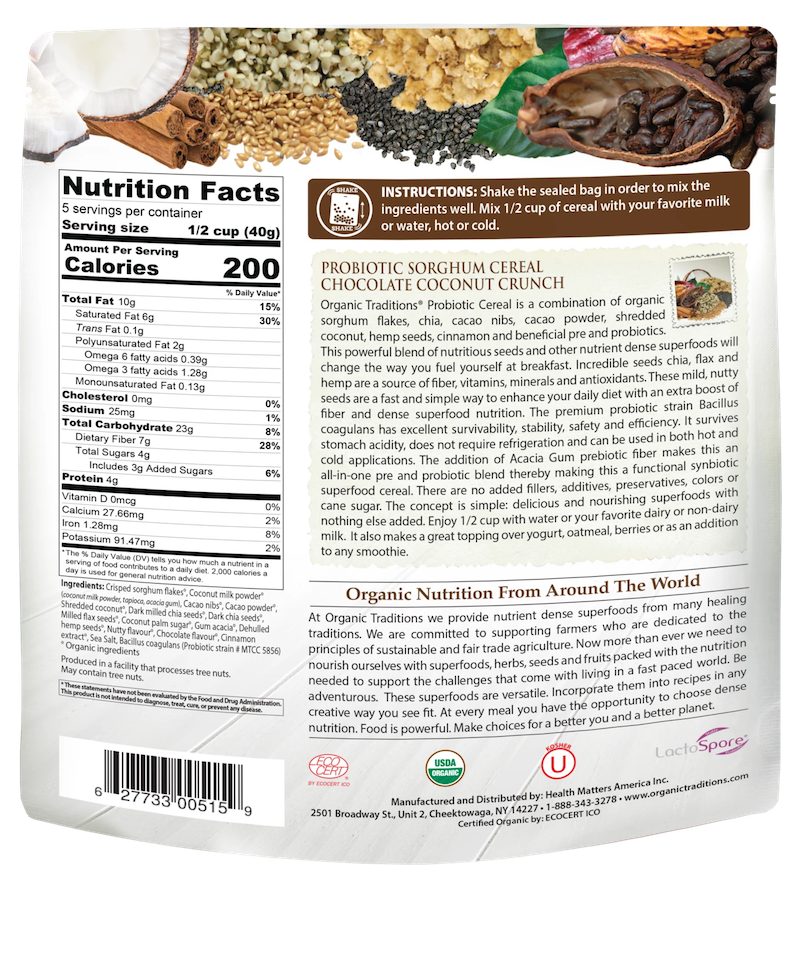 Organic Probiotic Sorghum Cereal - Chocolate Coconut Crunch