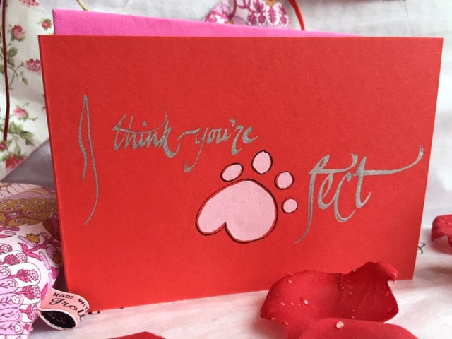 xoxo 'Love' greeting card - I think you're paw-fect xx