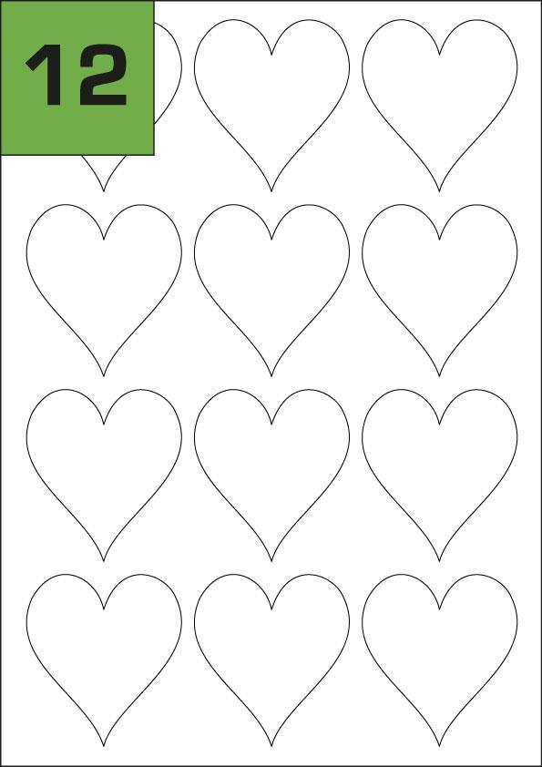 12 Heart Shaped Inkjet Printer Labels (60 x 66.6)mm