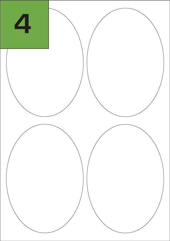 4 Oval Shaped Laser Printer Labels | 95mm x 134mm