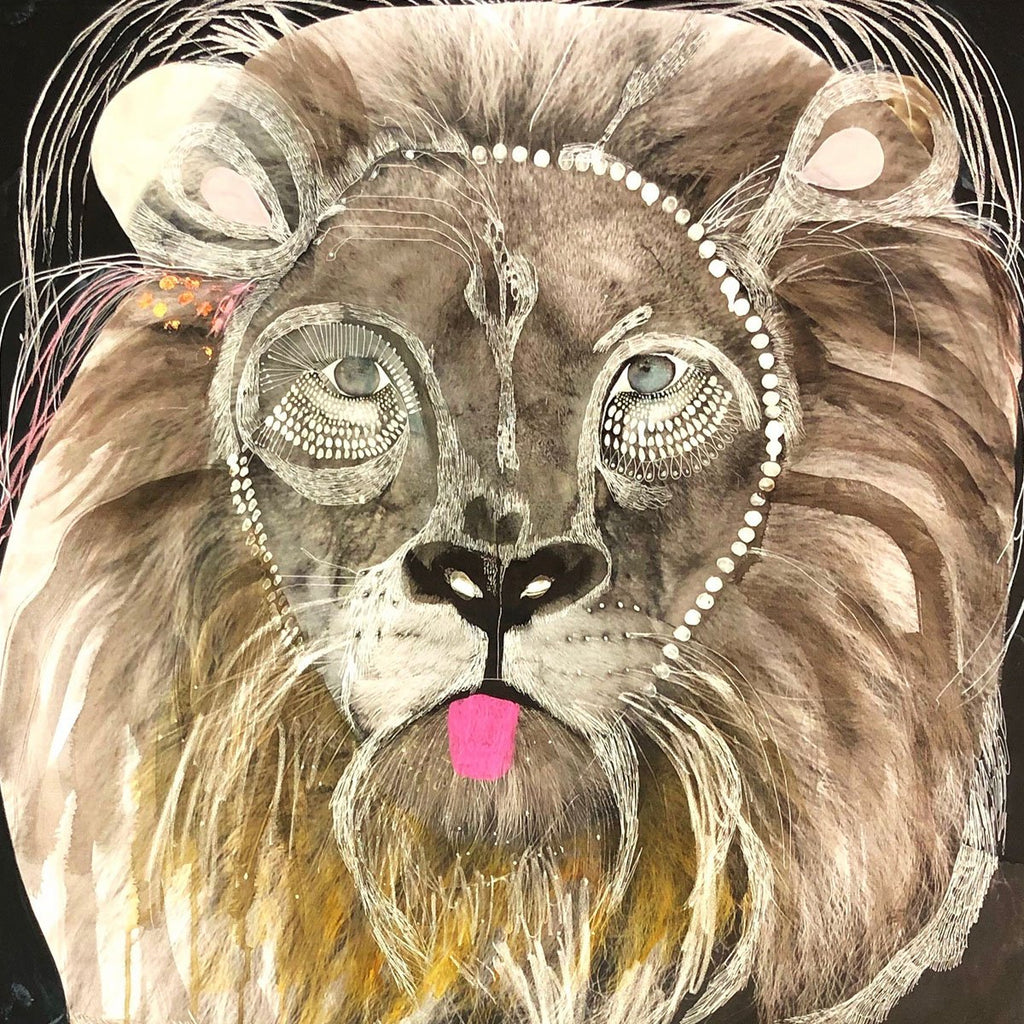 I Am King With Pink Tongue - Original-JessieBreakwell-Jessie Breakwell Gallery