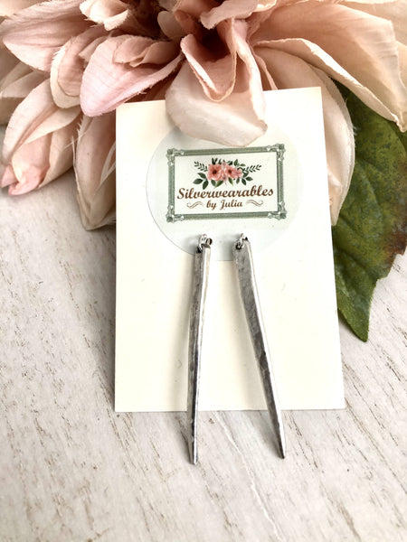 Hammered silver fork tine earrings