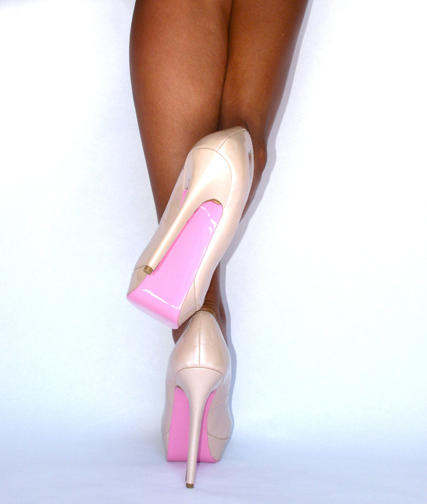 pink on white heels