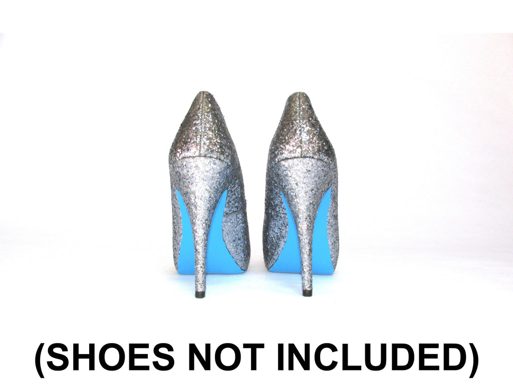 blue sole kit on silver heels
