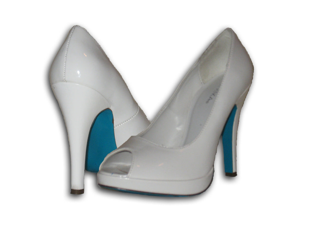 our turquoise kit on white heels