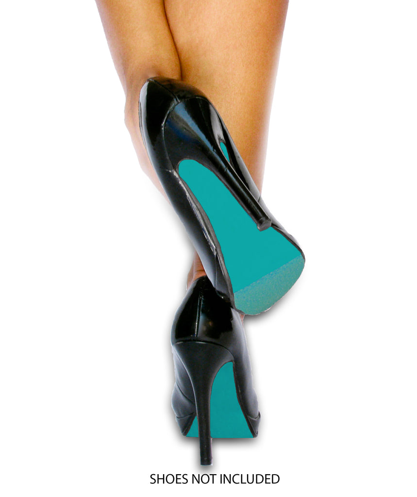 Our turquoise shoe bottom kit on black heels