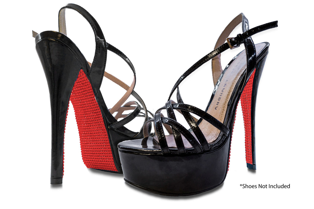 Red rhinestone sole on black heels