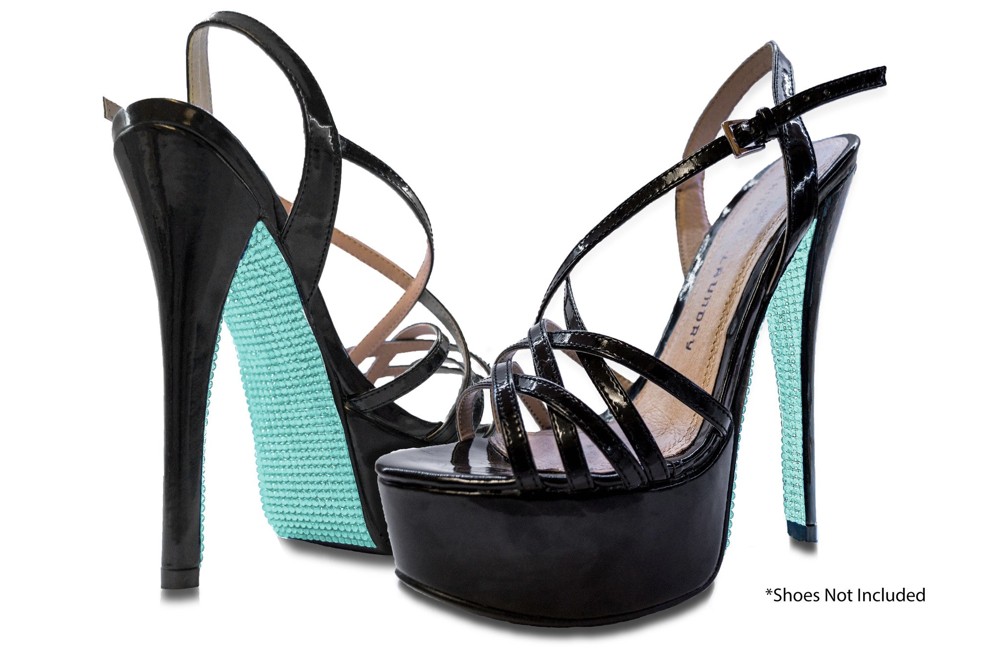 Turquoise rhinestone on black heels