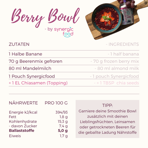 Rezept einer Berry Bowl by Synergicfood