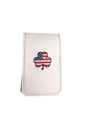 Handmade Genuine Leather Yardage Book Cover - USA Shamrock