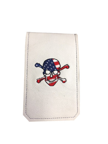 Handmade Genuine Leather Yardage Book Cover - USA Skull & Crossbones