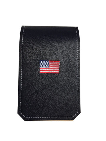 Handmade Genuine Leather Yardage Book Cover - USA Embroidered Flag!
