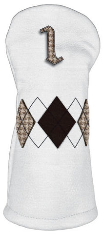 Old School -White/ Brown Houndstooth Argyle