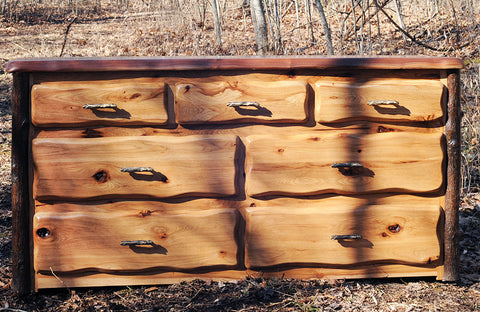 Lewis and Clark Rustic Walnut and Hickory Lowboy Dresser