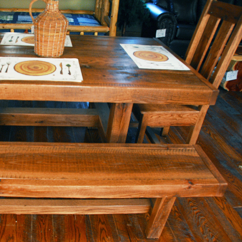 Buckboard Rough Cut Table, Chair, And Bench Set