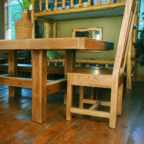 Buckboard Rough Cut Table Chair And Bench Set Niangua