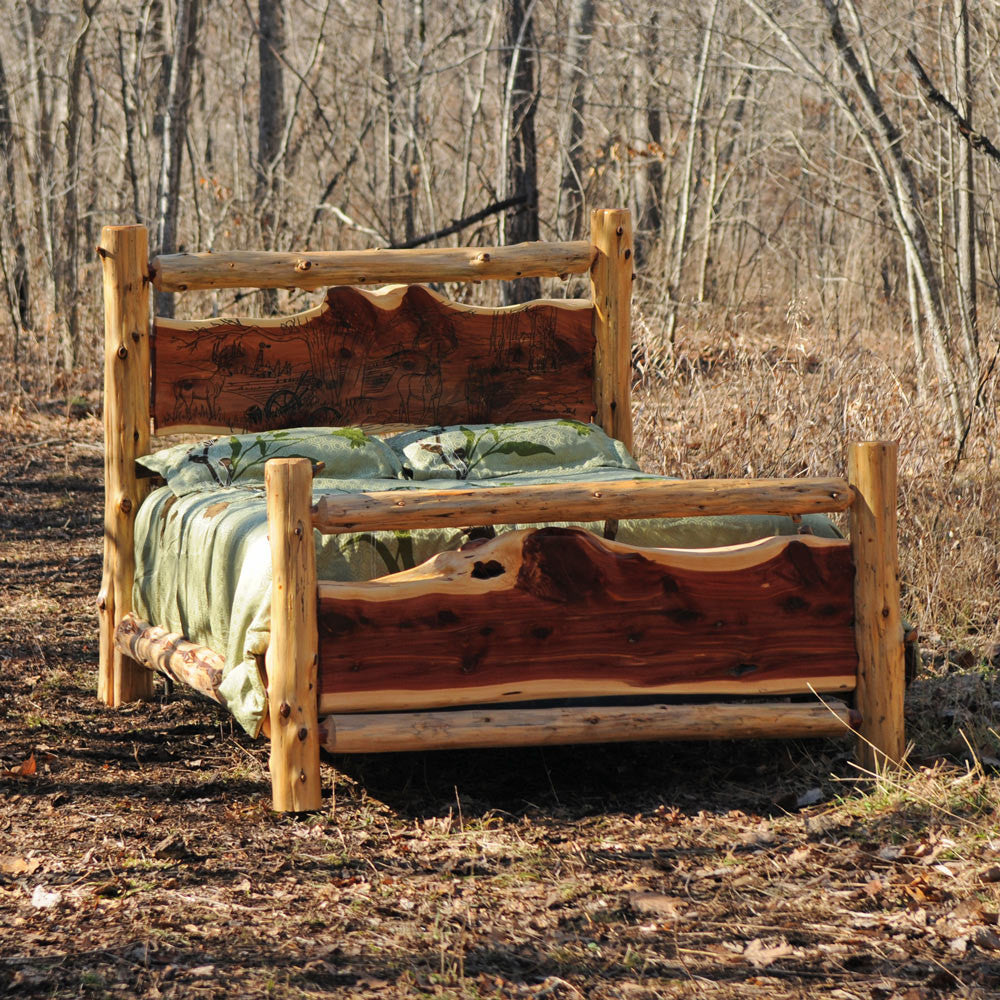 Cedar log rustic bed niangua furniture Log style beds