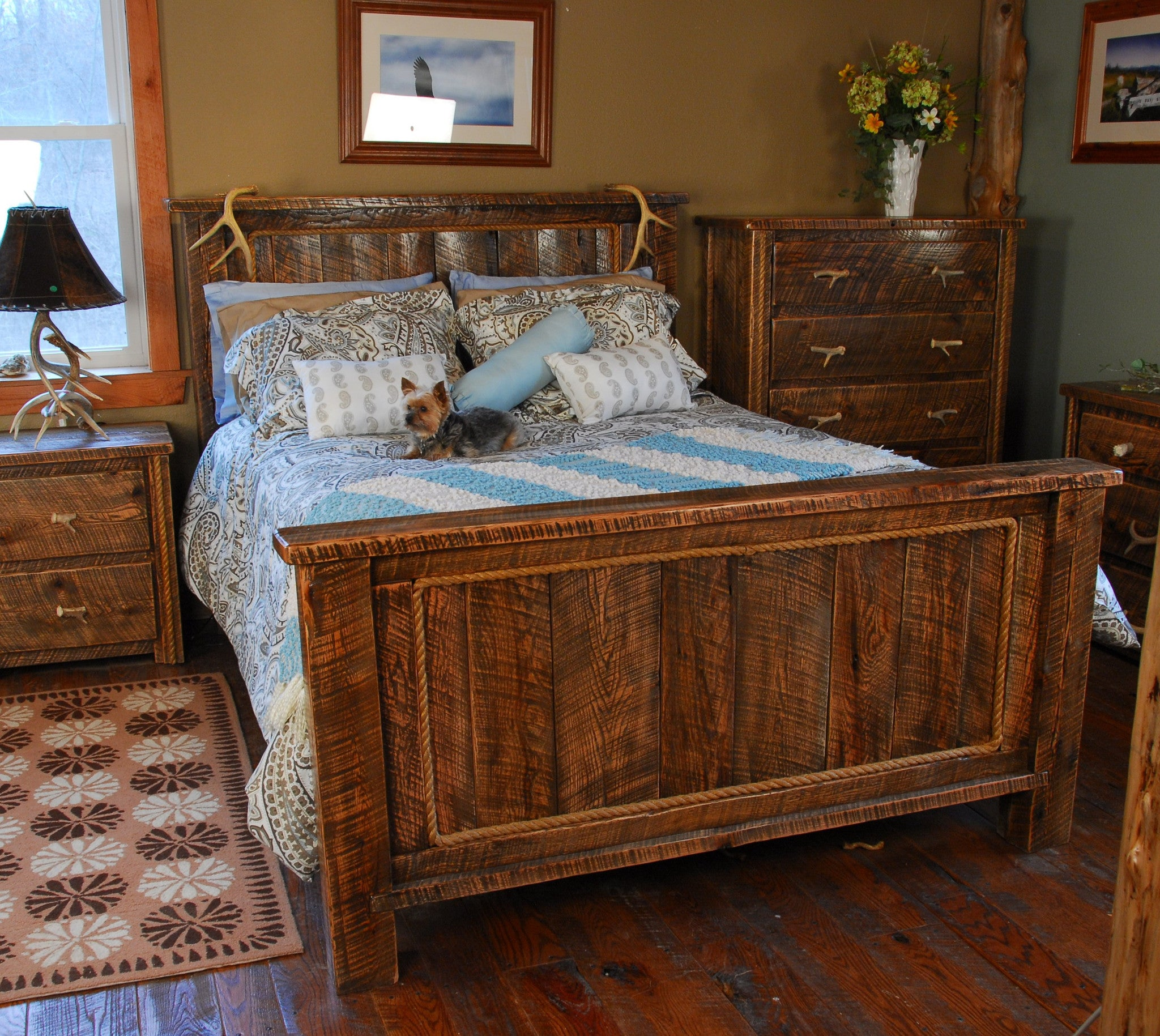 Buckboard rough cut bedroom set with antler accents for All bedroom furniture