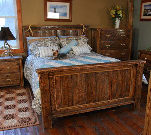 Buckboard Rough Cut Bedroom Set with Antler Accents