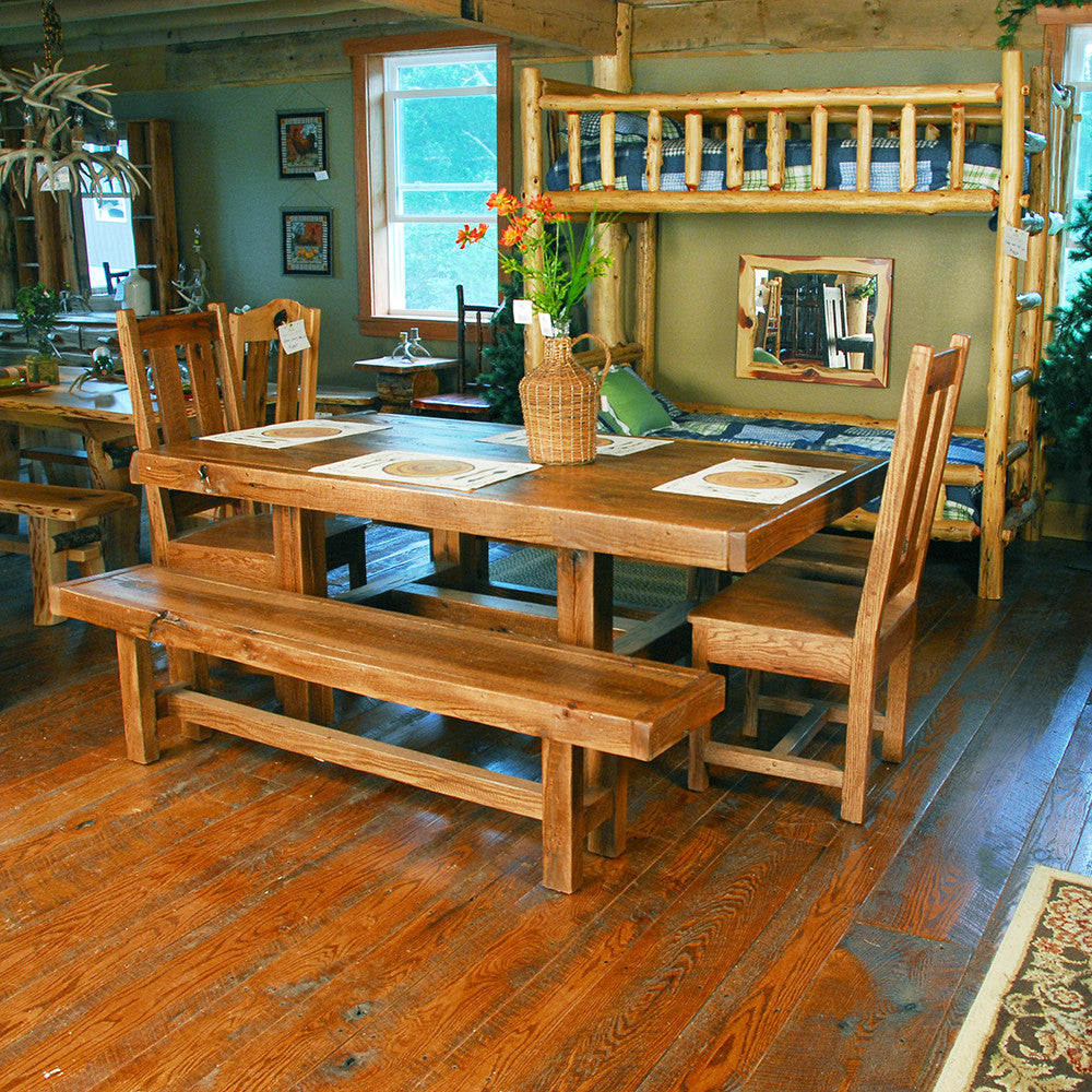 Buckboard Rough Cut Table Chair And Bench Set Niangua Furniture