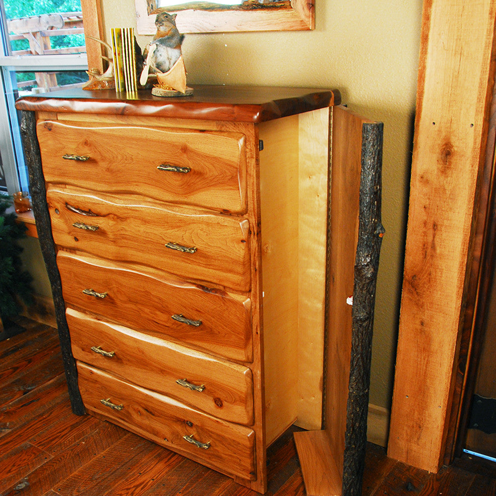 Lewis And Clark Rustic Walnut And Hickory Bedroom Set Niangua -  hickory bedroom furniture