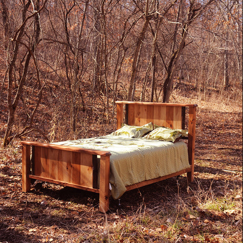 Lewis and Clark Rustic Walnut and Hickory Bed