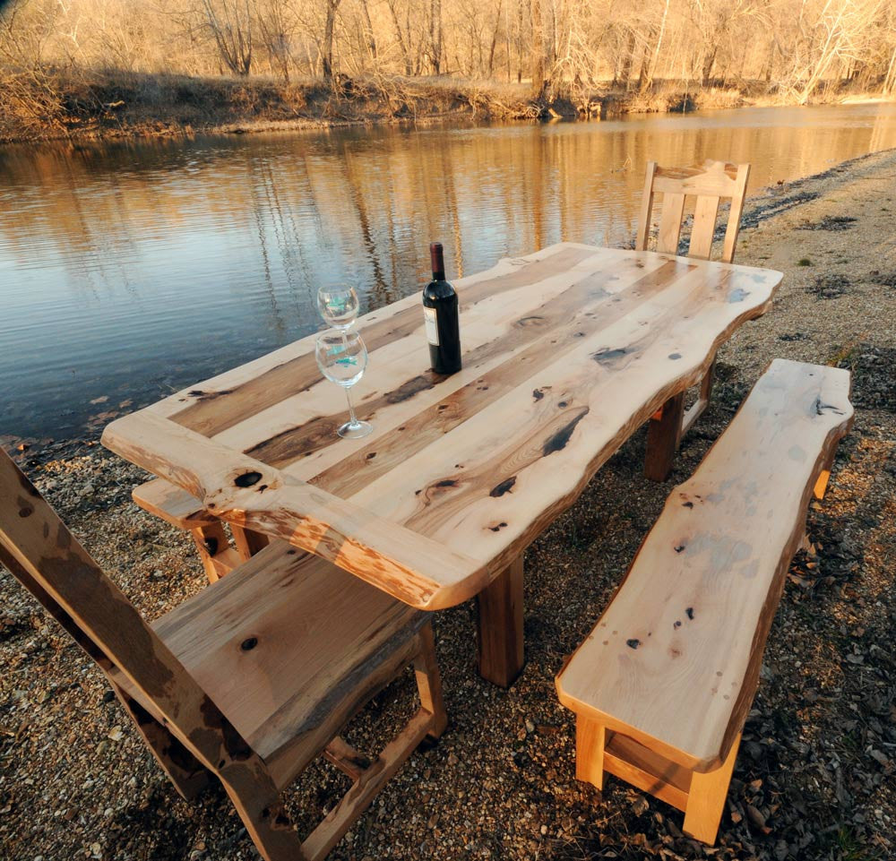 Hickory Wood Dining Set Rustic Solid Hickory Farmhouse Table by