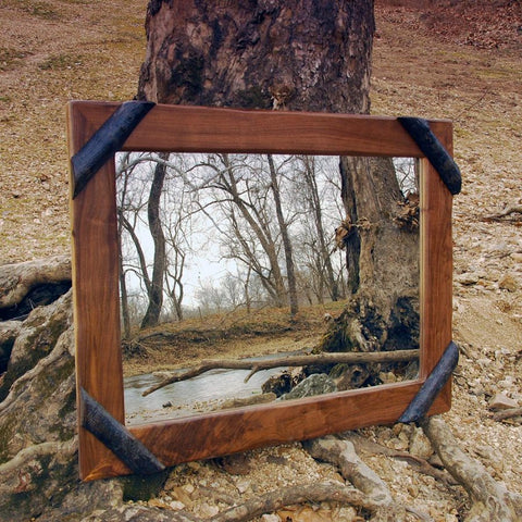 Rustic Mirror - Walnut with Bark-on Hickory Corners